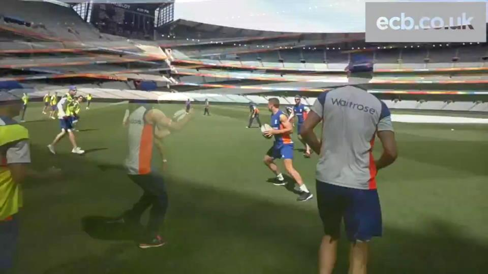 Behind the scenes - England Cricket team play rugby at the MCG