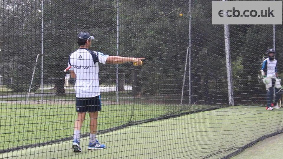 Moeen Ali power-hitting in the nets