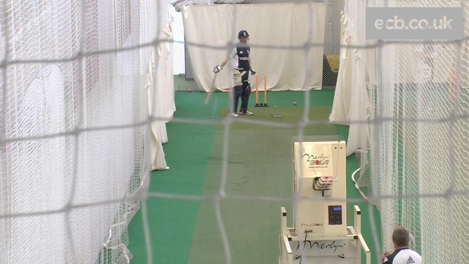 Eoin Morgan faces Merlyn bowling machine