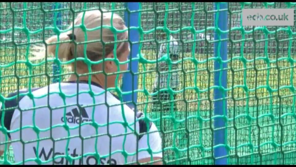 In the nets with Katherine Brunt