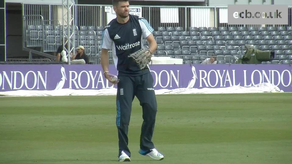 James Anderson keeps wicket in practice