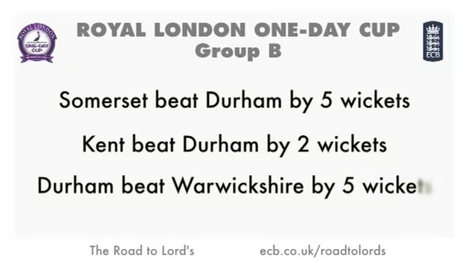 Durham - Road to Lord's
