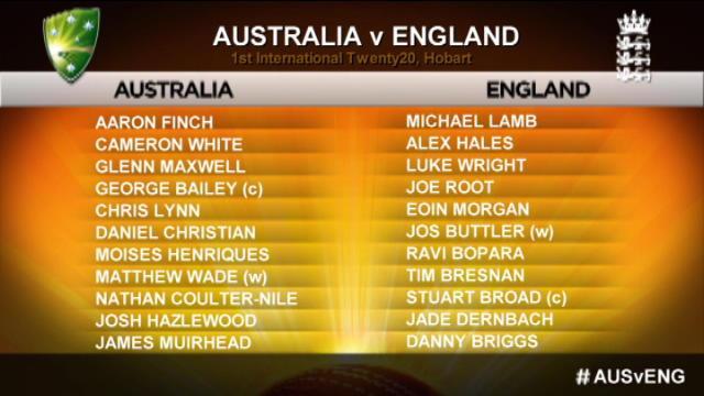 Australia v England: 1st T20 International, Hobart – Australia Innings