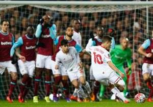 In der 48. Minute verwandelte Philippe Coutinho gegen West Ham United direkt per Freistoß