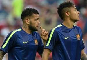 Teamkollegen in Barcelona und Brasiliens Nationalelf: Dani Alves (l.) und Neymar