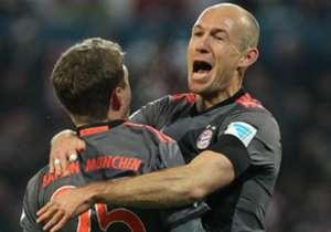 Arjen Robben bejubelt seinen Treffer in Mainz