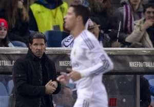 Diego Simeone (l.) wird im Finale ganz besonders auf die Leistung von Cristiano Ronaldo schauen