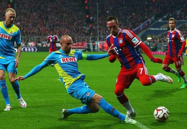Der Kölner Miso Brecko (l.) grätscht gegen den starken Franck Ribery