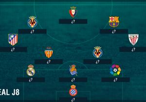 Real Madrid dan Barcelona sama-sama berpesta gol di pekan kedelapan, siapa yang mewakili kedua raksasa Clasico di tim terbaik, dan siapa lagi yang menemani mereka? Berikut susunan tim terbaik yang disusun Goal Spanyol...
