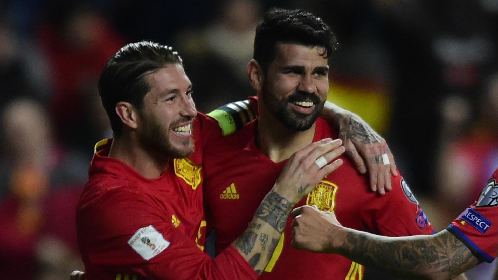 Diego Costa Sergio Ramos Spain Israel WC Qualifier