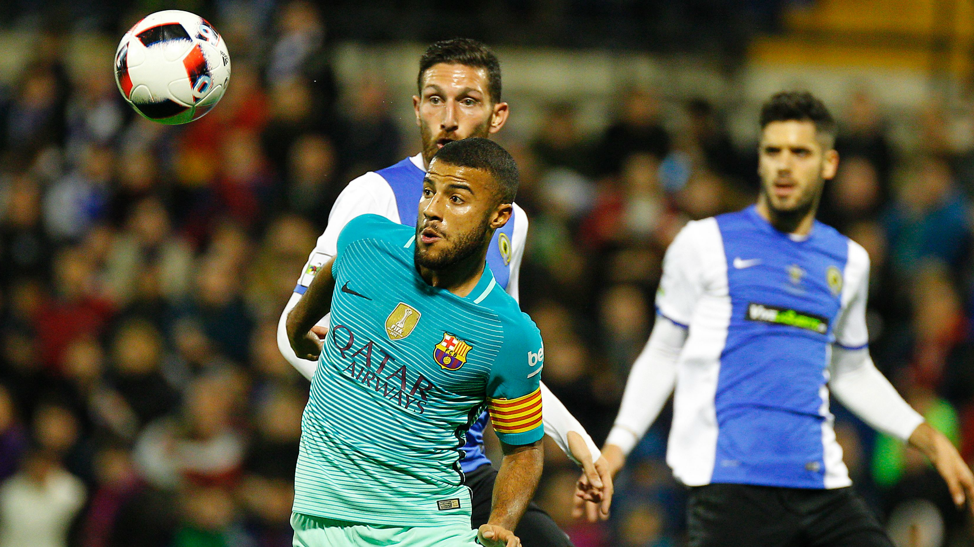 Rafinha Fighting for Ball against Hercules from Copa Del Rey