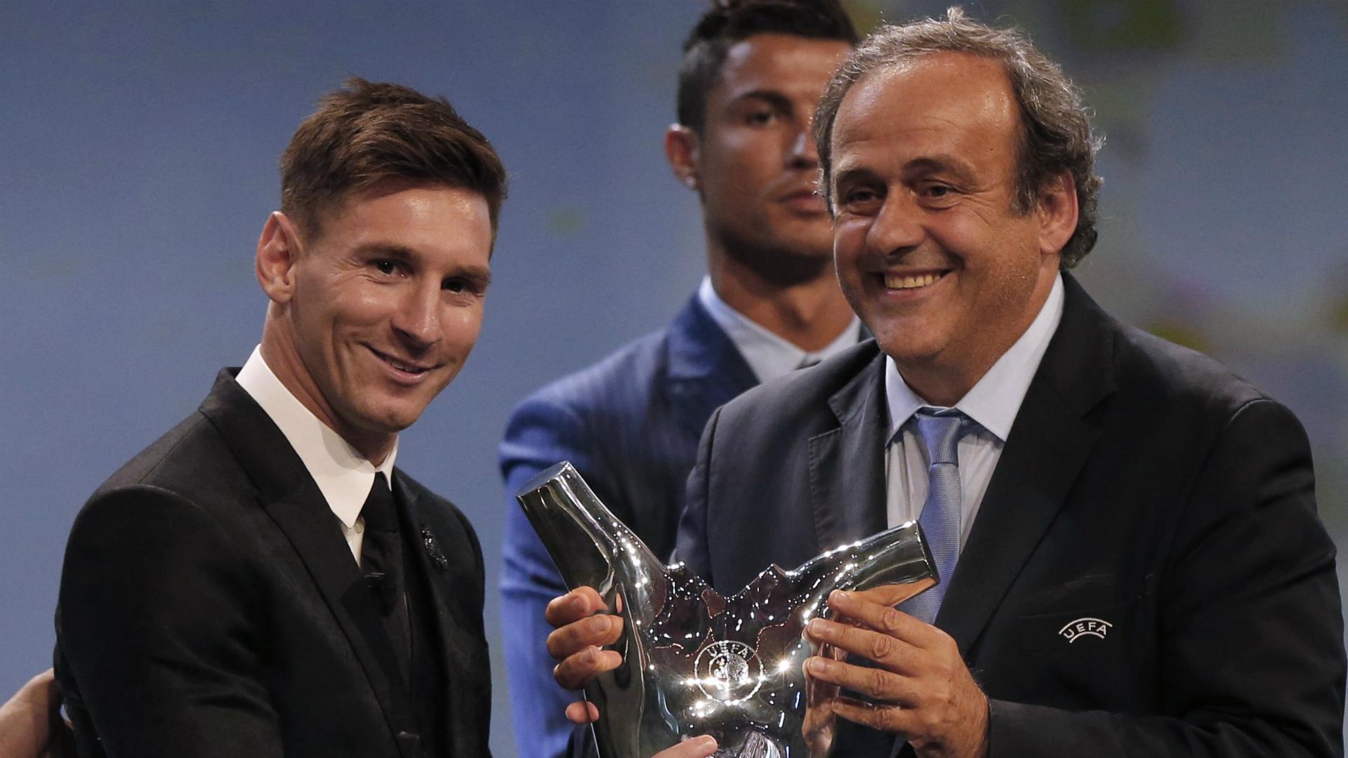 Lionel Messi Michel Platini UEFA
