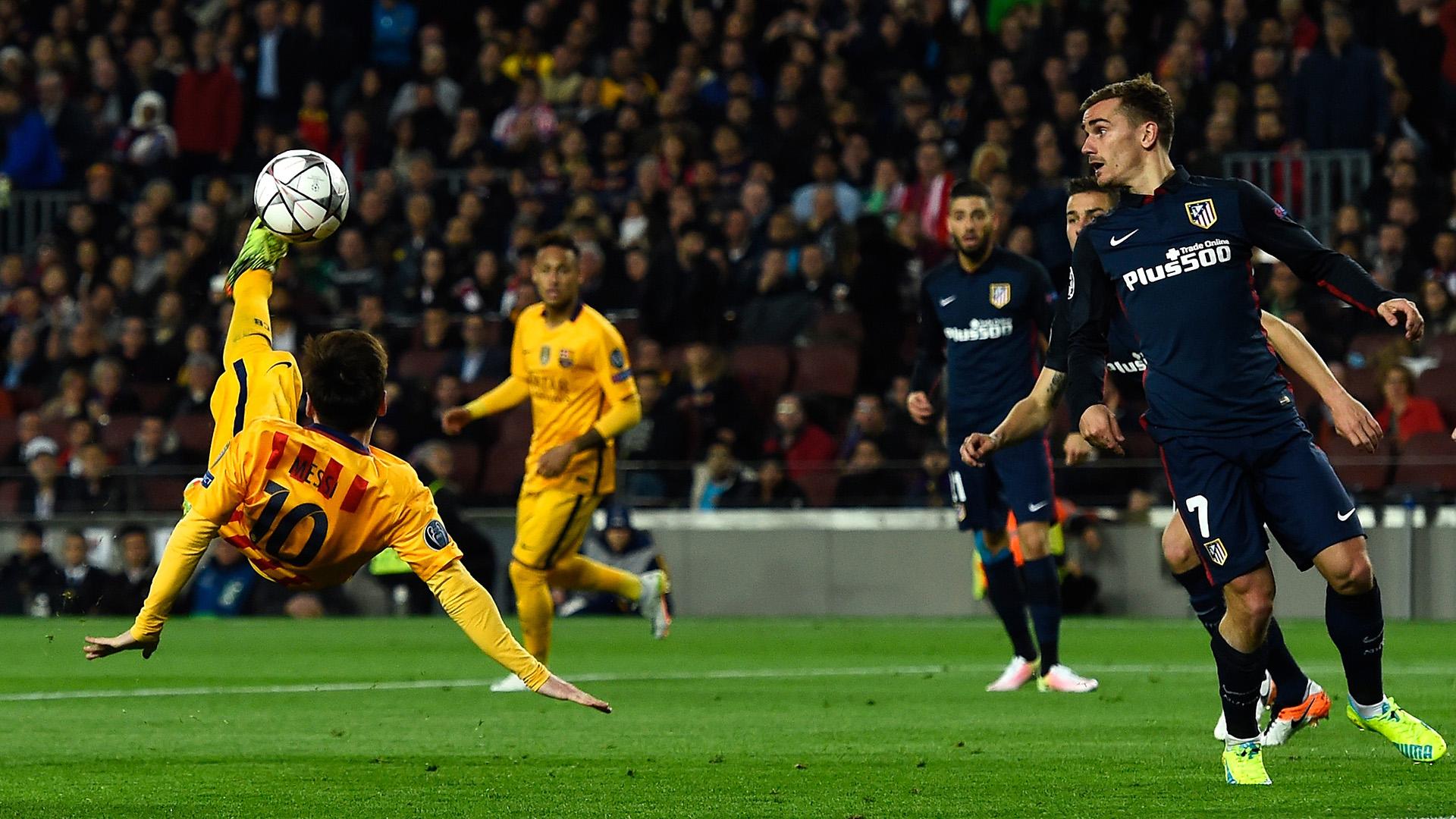 Griezmann elogia rivais e revela o que roubaria de cristiano ronaldo e messi - Messi bicycle kick assist ...