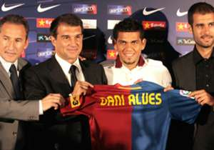 "Alves came to Barcelona in the summer of 2008 after six years at Sevilla, at the age of 25. Then-president, Joan Laporta, called him the ""best right-back in the world"", justifying his mammoth €35.5 million fee."