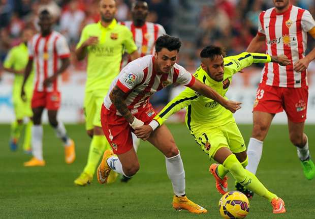 Almeria 1-2 Barcelona: Neymar and Alba rescue visitors