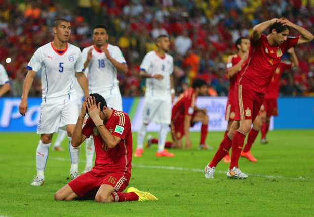 Spain 0-2 Chile: Aranguiz sends holders crashing out of World Cup
