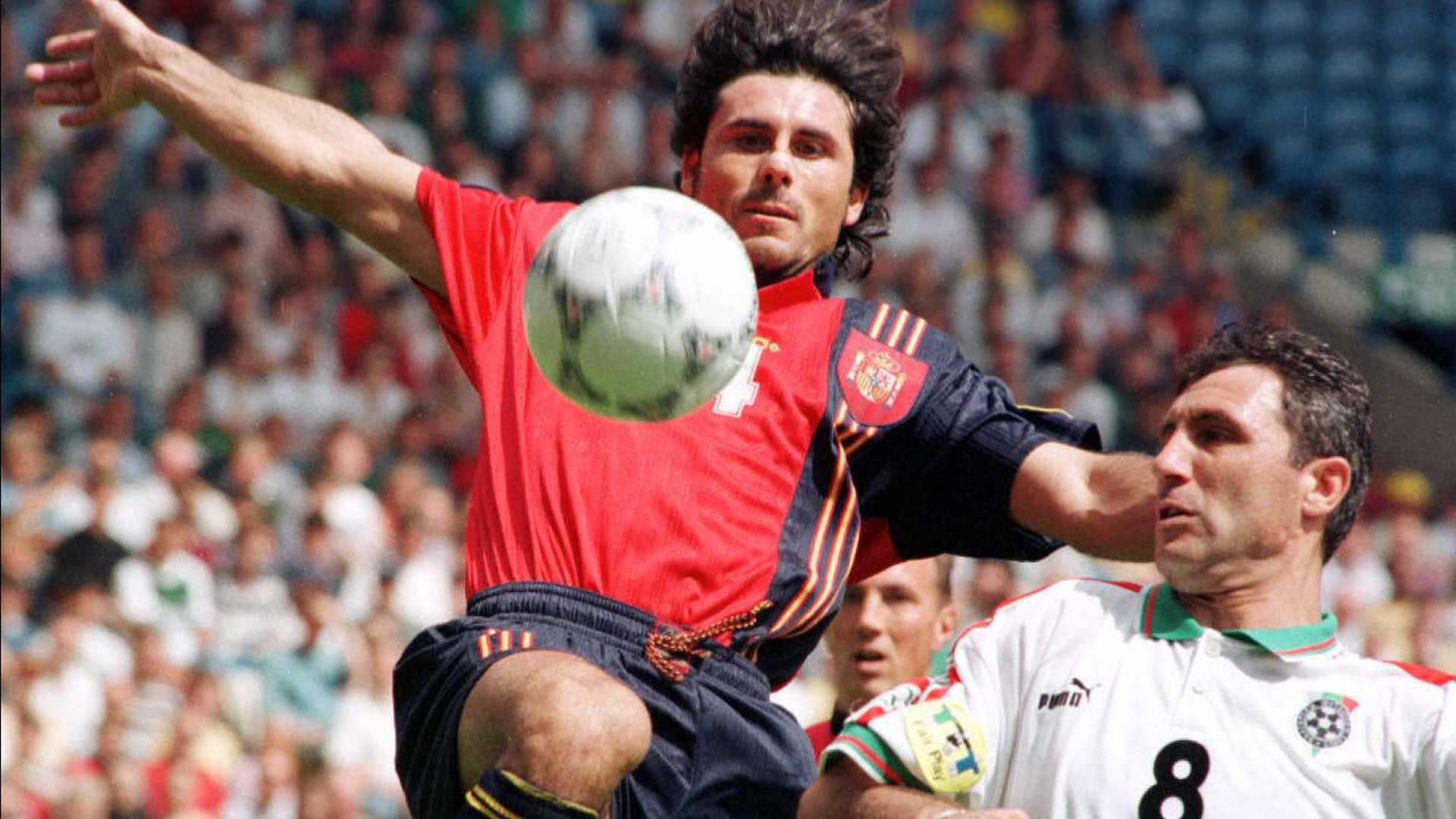 Rafael Alkorta and Hristo Stoichkov during Spain-Bulgaria match at EURO 1996