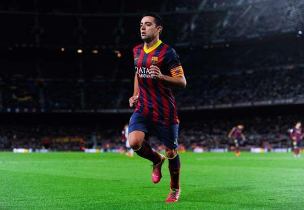 Xavi Hernández, en el Camp Nou