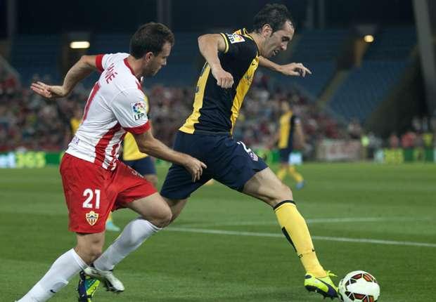 Almeria 0-1 Atletico Madrid: Miranda strikes to put pressure on Barcelona