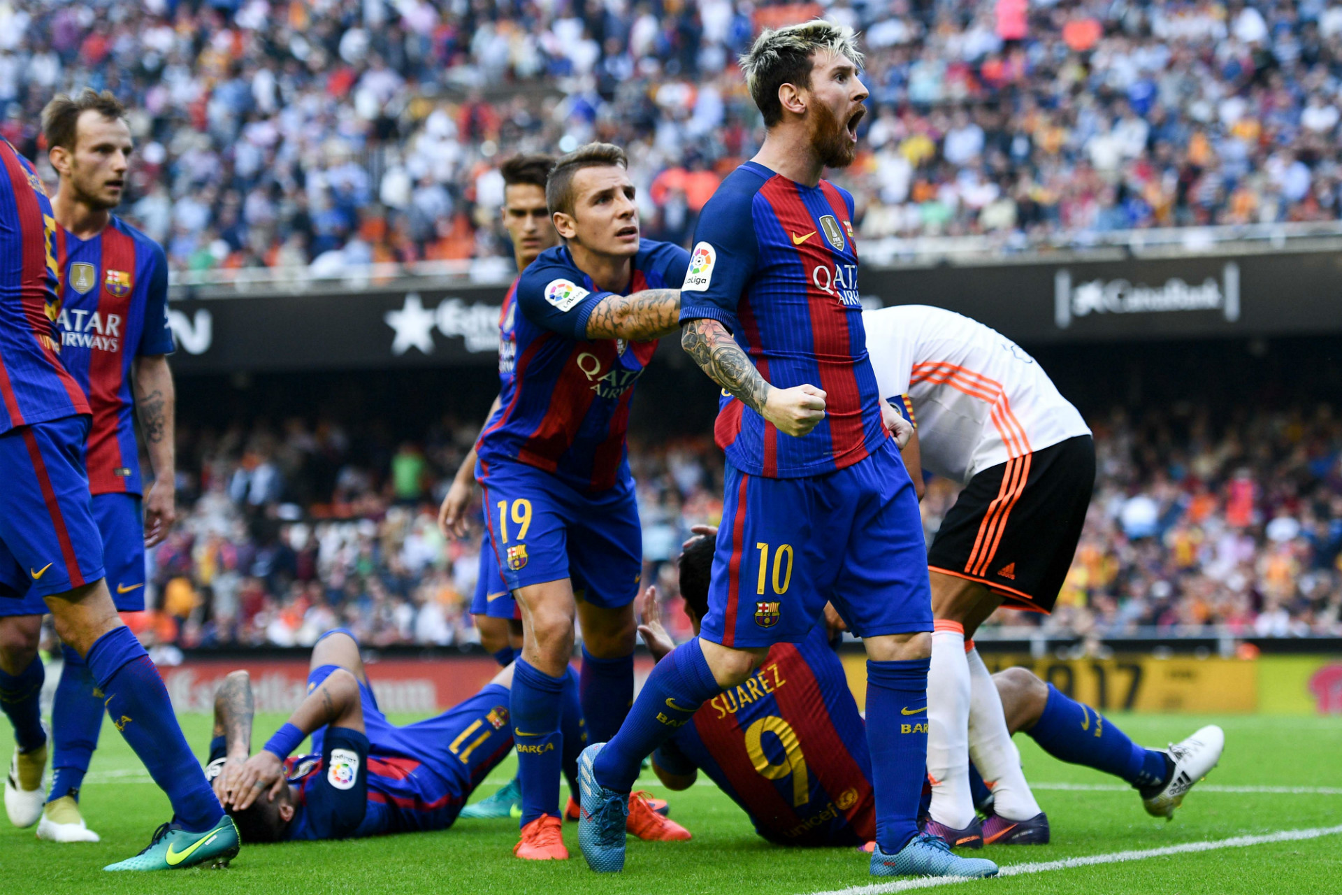 Image result for Lionel Messi curses at Valencia fans who threw objects at Barcelona