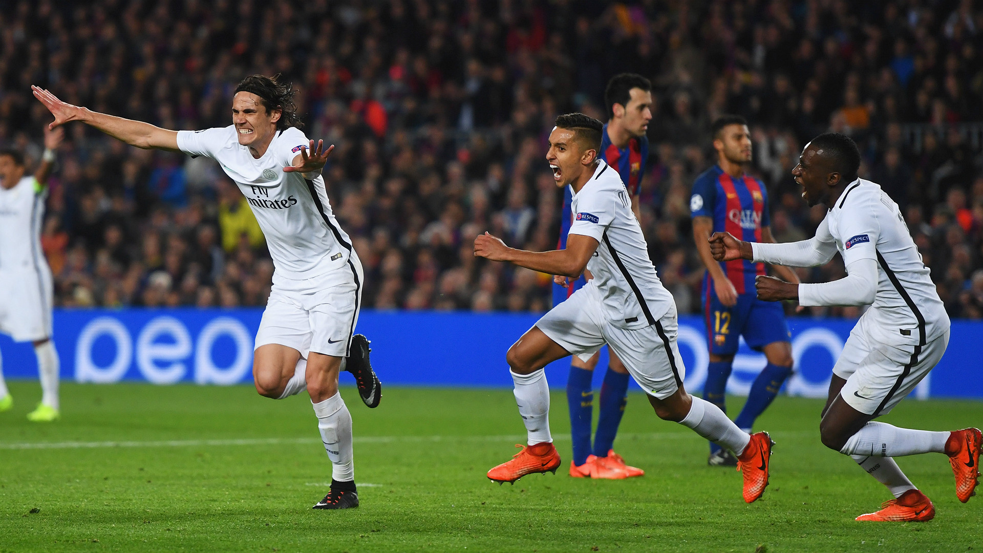 Marquinhos Matuidi Cavani Barcelona PSG UEFA Champions League 08032016