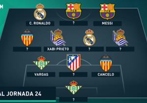 Las victorias del Real Madrid, el Barcelona y la Real Sociedad se ven reflejadas en nuestra selección de los mejores once de la jornada 24 en la Liga BBVA