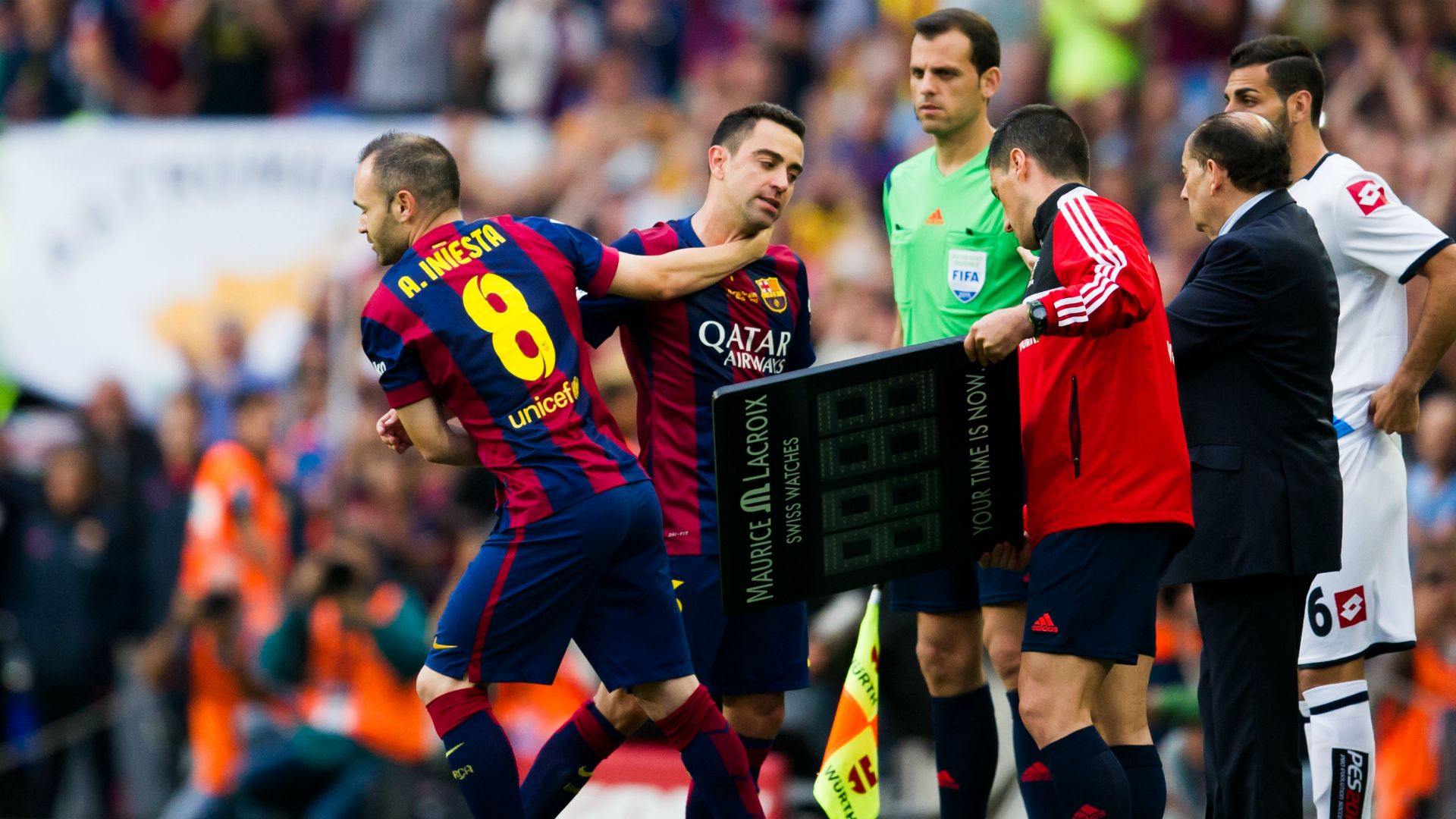 Andres Iniesta Xavi Hernandez Barcelona Deportivo de La Coruna Liga BBVA 05232015