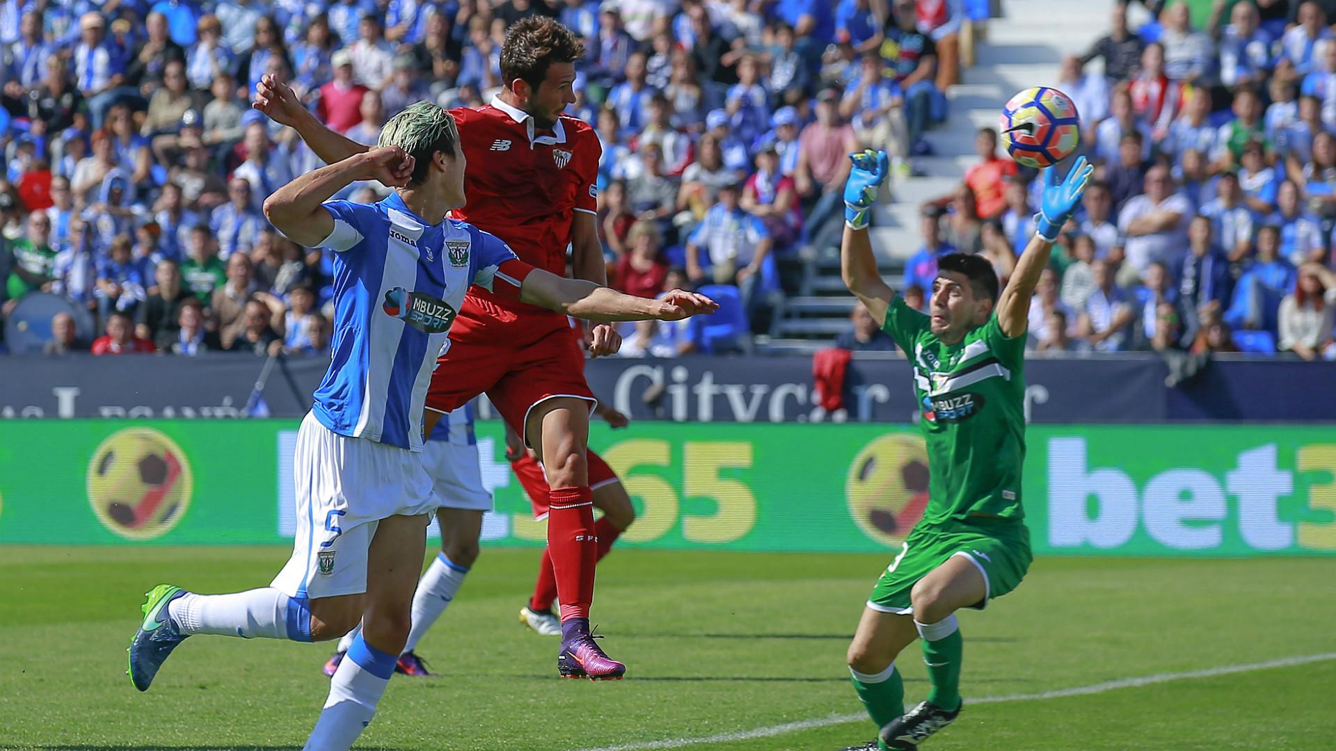 Gol del Mudo Vázquez en el triunfo del Sevilla