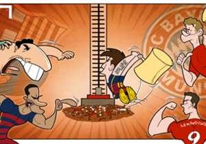O Barcelona e o Bayern de Munique exercitam seus músculos nesta terça-feira, pela Champions League, e goleiam adversários...