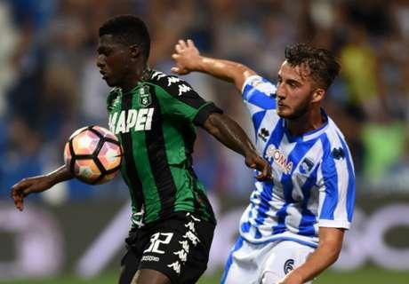 Sassuolo-Pescara: da 2-1 a 0-3 a tavolino