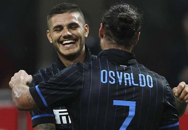 Icardi anotó por duplicado y Osvaldo también marcó el suyo.