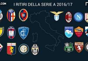 Per le squadre di Serie A è già tempo di pianificare la stagione 2016/17, a cominciare dai ritiri pre campionato. Ecco qui l'elenco, in costante aggiornamento.