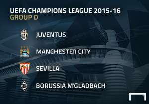 <p>MATCHDAY 1 - TUESDAY, SEPTEMBER 15<br />Manchester City-Juventus<br />Sevilla-Borussia Monchengladbach</p> <p>MATCHDAY 2 - WEDNESDAY, SEPTEMBER 30<br />Borussia Monchengladbach-Manchester City<br />Juventus-Sevilla</p> <p>MATCHDAY 3 - WEDNESDAY, OC...