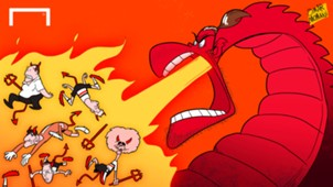 Cartoon - Dragon Bale breathes fire over devils of Belgium