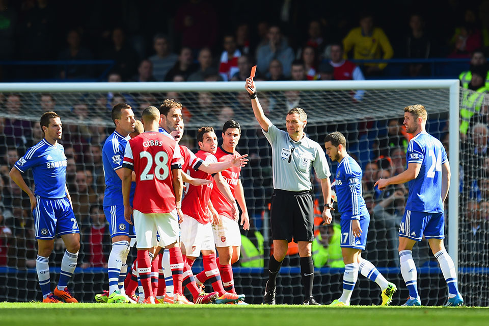 Andre Marriner shows red card to Kierran Gibbs Chelsea vs Arsenal