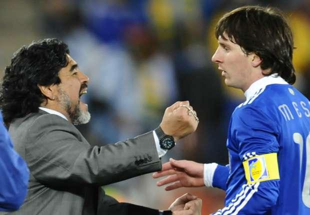 Diego Maradona y Lionel Messi - Sudáfrica 2010