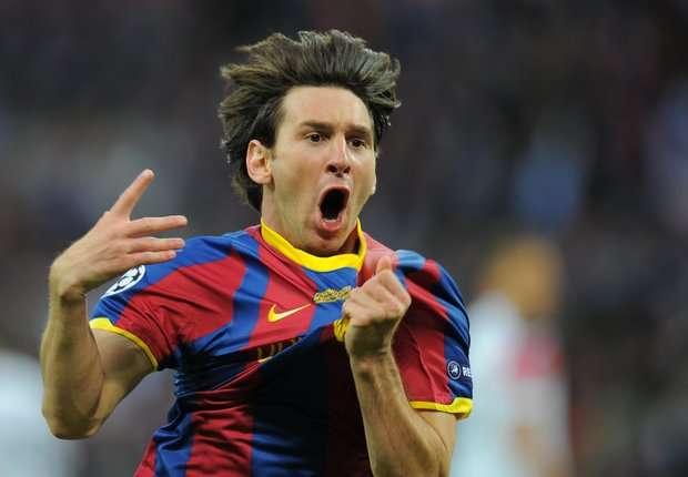 Leo celebra un gol al Manchester United, en la final europea de 2011
