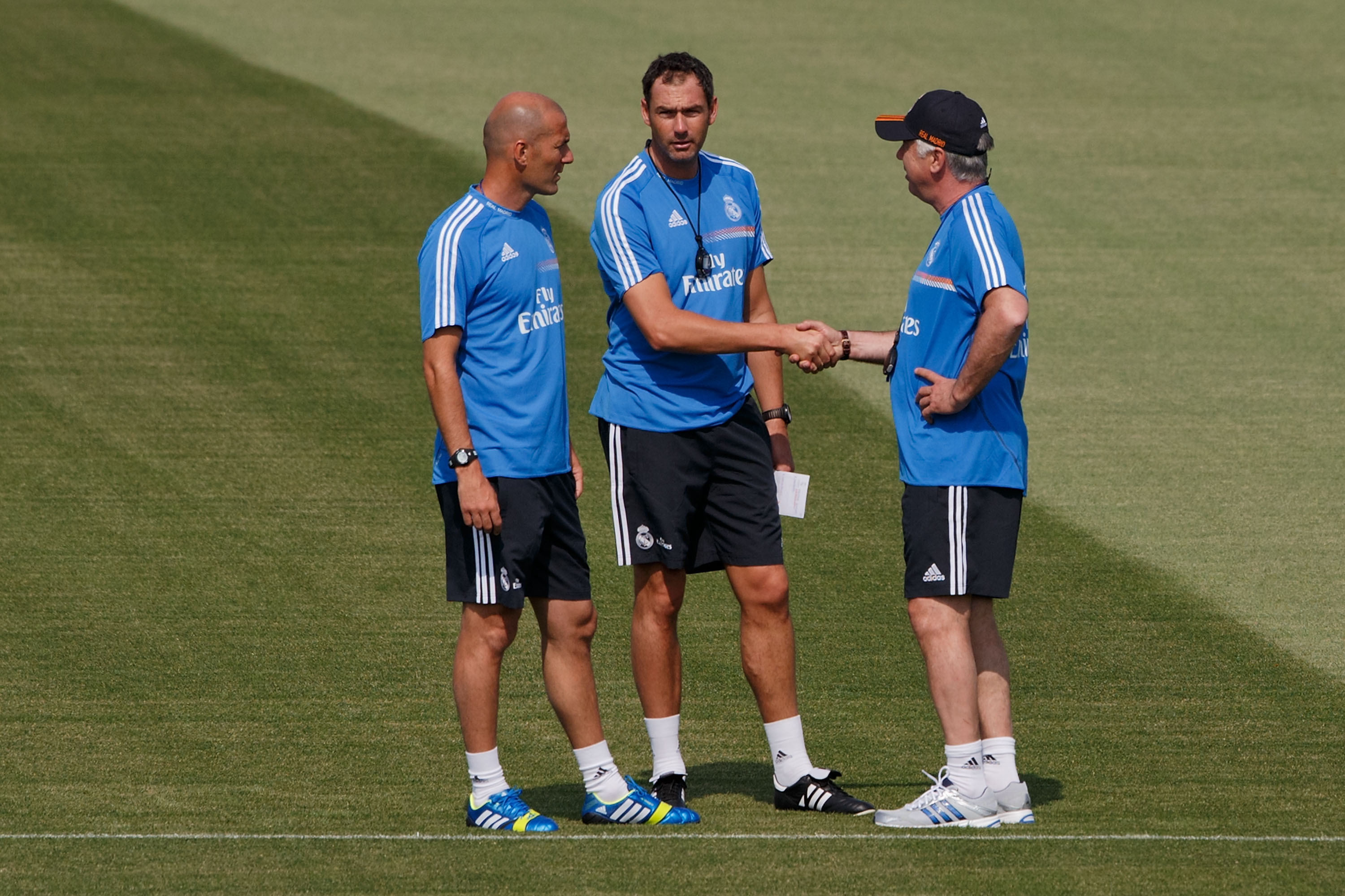 Carlo Ancelotti, Zinedine Zidane and Paul Clement, the Real Madrid coaches