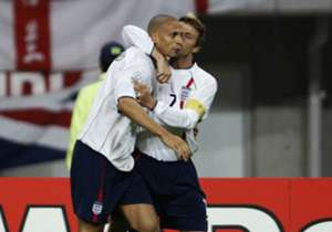 Ferdinand scores his first England goal in a 3-0 win over Denmark in the round-of-16 stage at the 2002 World Cup. England were later eliminated by Brazil in the quarter-finals.