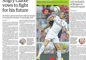 <strong>GUARDIAN | UK | BALE SINKS TOTTENHAM IN MUNICH |</strong> The former Spurs winger was on target at the Audi Cup as Real Madrid claimed a 2-0 win over Mauricio Pochettino's side