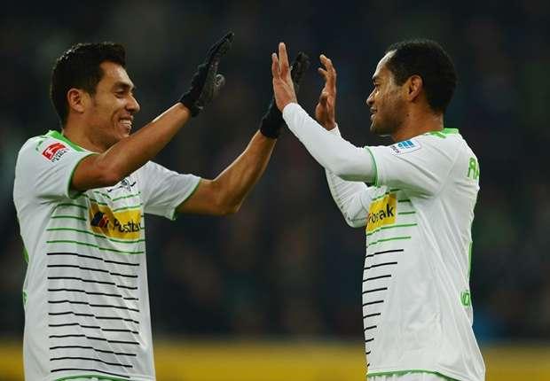 Juan Arango und Raffael feier den Einzug in die Europa League