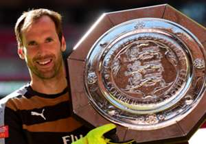 COMMUNITY SHIELD | ARSENAL V CHELSEA | Petr Cech holds up his latest piece of silverware, vindicating his decision to leave Stamford Bridge