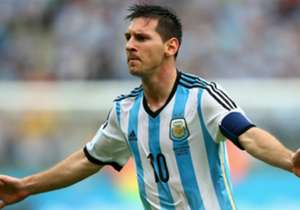 Lionel Messi of Argentina celebrates scoring his team's second goal and his second of the game during the 2014 FIFA World Cup Brazil Group F match between Nigeria and Argentina at Estadio Beira-Rio on June 25, 2014 in Porto Alegre, Brazil.