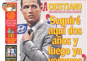 <strong>AS | España | SEGUIRÉ AQUÍ DOS AÑOS Y LUEGO YA VEREMOS |</strong> Cristiano recogió su tercer pichichi