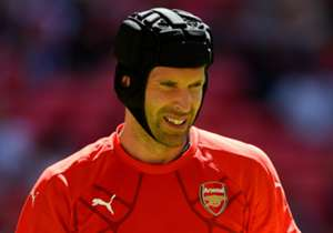 COMMUNITY SHIELD | ARSENAL V CHELSEA | Petr Cech warms up as he prepares to take on his old club for the first time