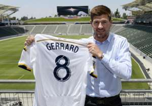 Steven Gerrard faced the press as a LA Galaxy player for the first time on Tuesday having completed his move from Liverpool