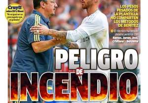 <strong>MARCA | Spain | DANGER OF FIRE |</strong> Benitez has had run ins with Ramos, James, Jese, Cristiano and Benzema. <br />PLUS: <strong>Tebas: Fifa is like the Sicilian mafia | Cruyff: Being a great goalscorer different to a great player </strong>