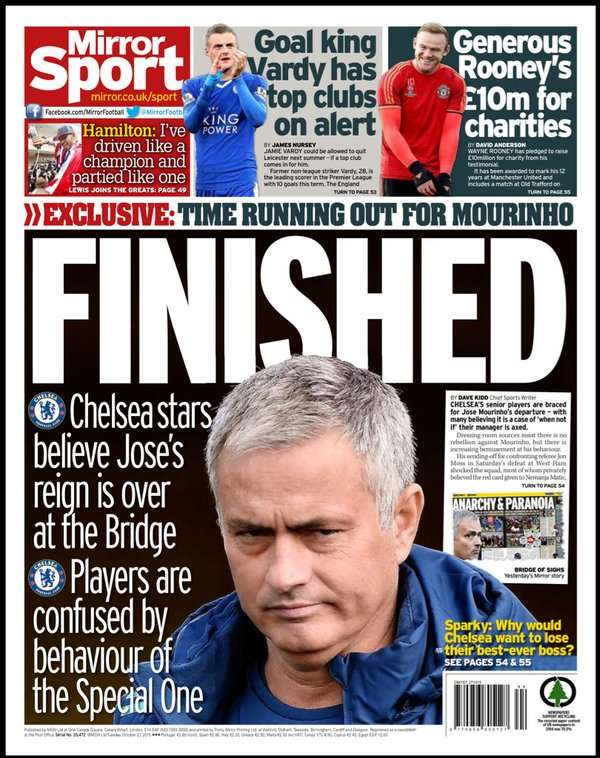 Daily mirror back page october 27 for Sunday mirror