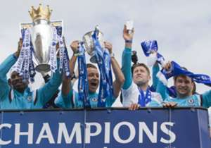 Having been presented with the Premier League trophy on Sunday afternoon, Chelsea set off on parading both that silverware and the Capital One Cup around west London on Monday.