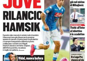 <strong>TUTTOSPORT | Italy | JUVE DOUBLE DOWN FOR HAMSIK |</strong> The prospective summer transfer is only delayed<br /><br /><strong>Plus:</strong> Vidal's new scandal | Half of Milan already in Mihajlovic's bad books
